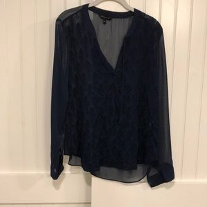 Navy banana republic blouse with embroidery